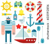 marine and nautical vector flat ... | Shutterstock .eps vector #603592856