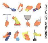 hands holding domestic cleaning ... | Shutterstock .eps vector #603592862