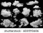 set of clouds group white on... | Shutterstock . vector #603593606