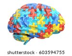 Stock photo autism concept with brain d rendering isolated on white background 603594755