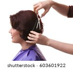 hairdresser making beautiful... | Shutterstock . vector #603601922