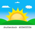 vector illustration of sunrise... | Shutterstock .eps vector #603603536