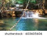 beautiful waterfall in... | Shutterstock . vector #603605606