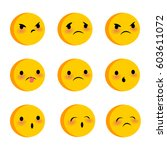 emotional cute sad poor faces... | Shutterstock .eps vector #603611072