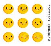 emotional cute sad poor faces... | Shutterstock .eps vector #603611072