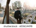 rear view of rider shoulder... | Shutterstock . vector #603614498