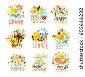 happy summer vacation sunny... | Shutterstock .eps vector #603616232