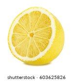 half of lemon isolated on white ... | Shutterstock . vector #603625826