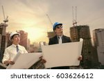 asian businessman and engineer... | Shutterstock . vector #603626612