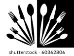 A Set Of Tableware Black And...