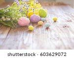 easter eggs and spring flowers...   Shutterstock . vector #603629072