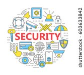 protection and security line... | Shutterstock .eps vector #603633842