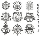 set of yacht club labels.... | Shutterstock .eps vector #603636038