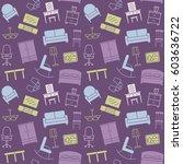 furniture seamless pattern.... | Shutterstock .eps vector #603636722