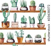 hand drawn various of cactus in ... | Shutterstock . vector #603638372