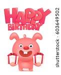 pink bunny cartoon character... | Shutterstock .eps vector #603649502