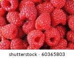 ripe red raspberries close up | Shutterstock . vector #60365803
