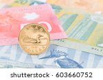 canadian coin dollar stand on... | Shutterstock . vector #603660752