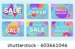 sale posters set in trendy 80s... | Shutterstock .eps vector #603661046