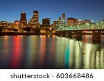 portland oregon downtown... | Shutterstock . vector #603668486
