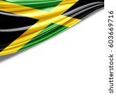 jamaica flag of silk with... | Shutterstock . vector #603669716