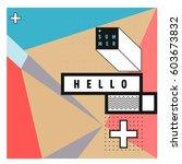 trendy vector summer cards...   Shutterstock .eps vector #603673832