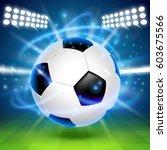 soccer ball on the field. cover ... | Shutterstock .eps vector #603675566