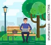 man freelancer works in park...   Shutterstock .eps vector #603677546