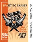 color vintage barmen school... | Shutterstock .eps vector #603679772