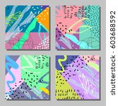 set of artistic colorful... | Shutterstock .eps vector #603688592
