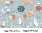 set with flying hares | Shutterstock .eps vector #603699632
