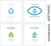 set of water drop icon vector... | Shutterstock .eps vector #603704042