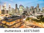 high view of singapore skyline...   Shutterstock . vector #603715685