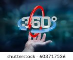 Small photo of Man on blurred background holding 360 degree 3D render icon in his hand