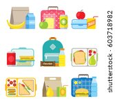 school lunch boxes set.... | Shutterstock .eps vector #603718982