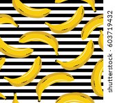 pop art  background with bananas | Shutterstock .eps vector #603719432