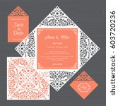 wedding invitation or greeting... | Shutterstock .eps vector #603720236