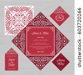 wedding invitation or greeting... | Shutterstock .eps vector #603720266