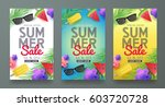 summer sale background layout... | Shutterstock .eps vector #603720728