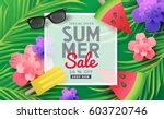 summer sale background layout... | Shutterstock .eps vector #603720746
