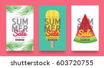 summer sale background layout... | Shutterstock .eps vector #603720755
