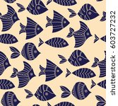 seamless pattern with fish.... | Shutterstock .eps vector #603727232
