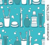 seamless pattern vector with... | Shutterstock .eps vector #603727826