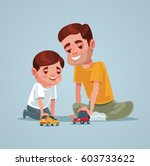 father and son character play... | Shutterstock .eps vector #603733622
