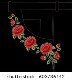 red roses. flowers on a black... | Shutterstock .eps vector #603736142