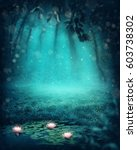 dark magic forest with a lake   Shutterstock . vector #603738302