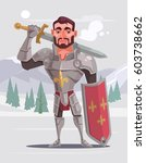 handsome brave smiling knight... | Shutterstock .eps vector #603738662