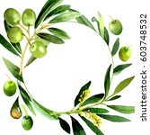 olive tree wreath in a... | Shutterstock . vector #603748532