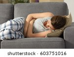 teen suffering belly pms... | Shutterstock . vector #603751016