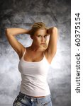 blonde girl in white shirt on... | Shutterstock . vector #60375154